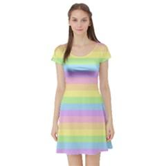 Cute Pastel Rainbow Stripes Short Sleeve Skater Dress