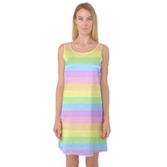 Cute Pastel Rainbow Stripes Sleeveless Satin Nightdress