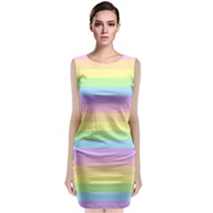 Cute Pastel Rainbow Stripes Classic Sleeveless Midi Dress