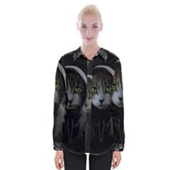 Gangsta Cat Womens Long Sleeve Shirt