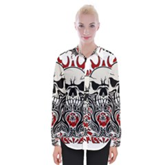 Skull Tribal Womens Long Sleeve Shirt
