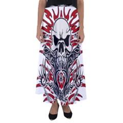 Skull Tribal Flared Maxi Skirt