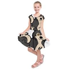 Alaskan Malamute Agouti Cartoon Kids  Short Sleeve Dress