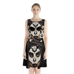 Voodoo  Witch  Sleeveless Waist Tie Chiffon Dress