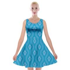 Blue Ornamental Pattern Velvet Skater Dress