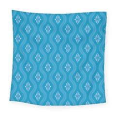 Blue Ornamental Pattern Square Tapestry (large)