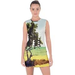 Landscape Lace Up Front Bodycon Dress