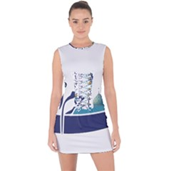 Seal Of Qom  Lace Up Front Bodycon Dress