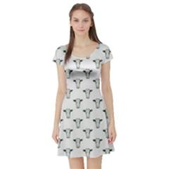White Geometric Cow Short Sleeve Skater Dress