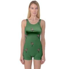 Green Geometric Flamingo One Piece Boyleg Swimsuit