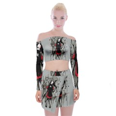 Come Play With Me   Off Shoulder Top With Skirt Set