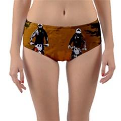 Motorsport  Reversible Mid Waist Bikini Bottoms