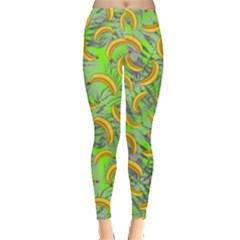 Light Green Banana Pattern Leggings