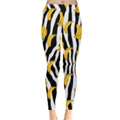 Black & White Zebra Pattern With Banana Leggings