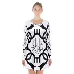 Seal Of Arak  Long Sleeve Velvet V Neck Dress