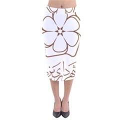 Logo Of Yazd  Velvet Midi Pencil Skirt