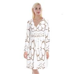 Logo Of Yazd  Long Sleeve Velvet Front Wrap Dress