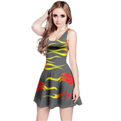 Red & Yellow Fire Tribal Pattern Reversible Sleeveless Dress