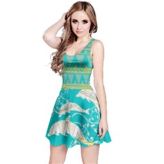 Teal Tribal & Dolphin Pattern Reversible Sleeveless Dress