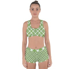 Green And White Diagonal Plaid Racerback Boyleg Bikini Set