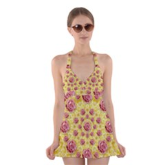 Roses And Fantasy Roses Halter Swimsuit Dress