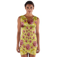 Roses And Fantasy Roses Wrap Front Bodycon Dress