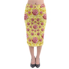 Roses And Fantasy Roses Midi Pencil Skirt