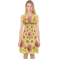 Roses And Fantasy Roses Capsleeve Midi Dress