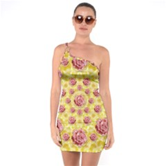 Roses And Fantasy Roses One Soulder Bodycon Dress
