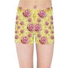 Roses And Fantasy Roses Kids Sports Shorts