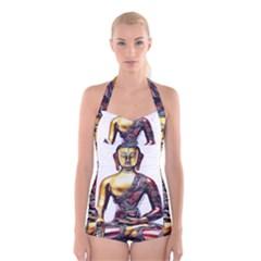 Buddha Boyleg Halter Swimsuit