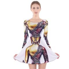 Buddha Long Sleeve Velvet Skater Dress