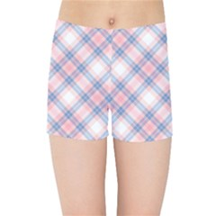 Pastel Pink And Blue Plaid Kids Sports Shorts