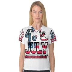 4th Of July Independence Day V Neck Sport Mesh Tee
