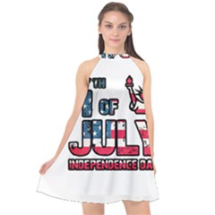 4th Of July Independence Day Halter Neckline Chiffon Dress
