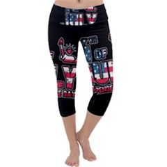 4th Of July Independence Day Capri Yoga Leggings
