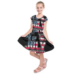 4th Of July Independence Day Kids  Short Sleeve Dress