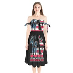 4th Of July Independence Day Shoulder Tie Bardot Midi Dress