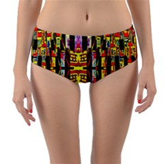 Three D Pie  Reversible Mid Waist Bikini Bottoms