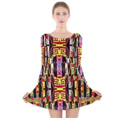Three D Pie  Long Sleeve Velvet Skater Dress