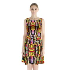 Three D Pie  Sleeveless Waist Tie Chiffon Dress