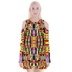 Three D Pie  Velvet Long Sleeve Shoulder Cutout Dress