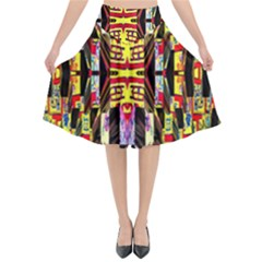 Three D Pie  Flared Midi Skirt