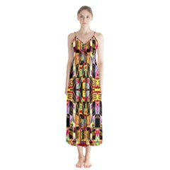 Three D Pie  Button Up Chiffon Maxi Dress