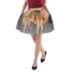 Finnish Spitz Full A Line Pocket Skirt