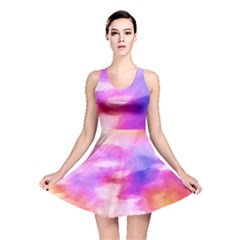 Colorful Abstract Pink And Purple Pattern Reversible Skater Dress