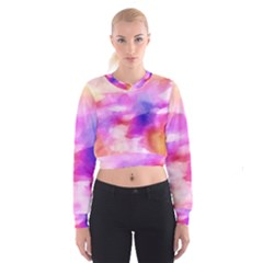 Colorful Abstract Pink And Purple Pattern Cropped Sweatshirt