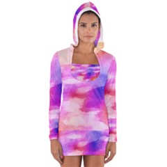 Colorful Abstract Pink And Purple Pattern Long Sleeve Hooded T Shirt
