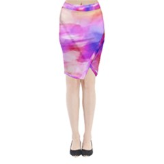 Colorful Abstract Pink And Purple Pattern Midi Wrap Pencil Skirt