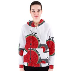 Watermelon Bicycle  Women s Zipper Hoodie